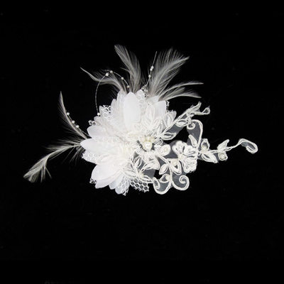 Gorgeous Feather/Lace Combs & Barrettes/Flowers & Feathers With Venetian Pearl