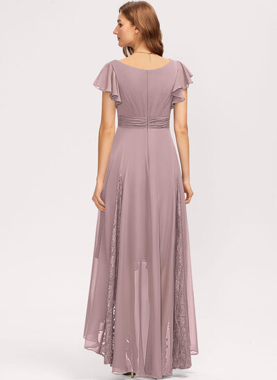 A-Line V-neck Asymmetrical Chiffon Cocktail Dress With Ruffle Lace