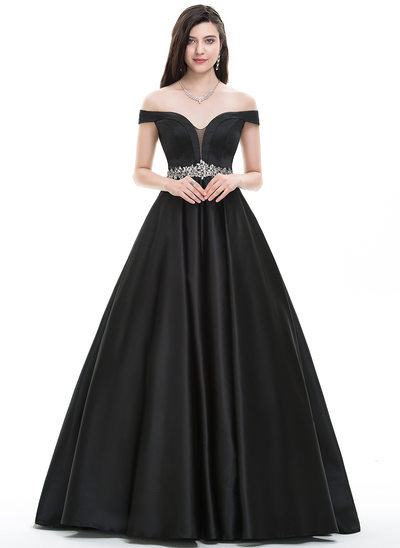 Ball-Gown/Princess Off-the-Shoulder Floor-Length Satin Prom Dresses With Beading
