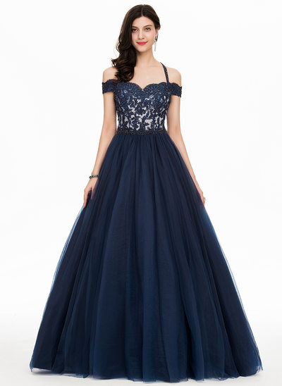 Ball-Gown Off-the-Shoulder Floor-Length Tulle Prom Dresses With Beading Sequins