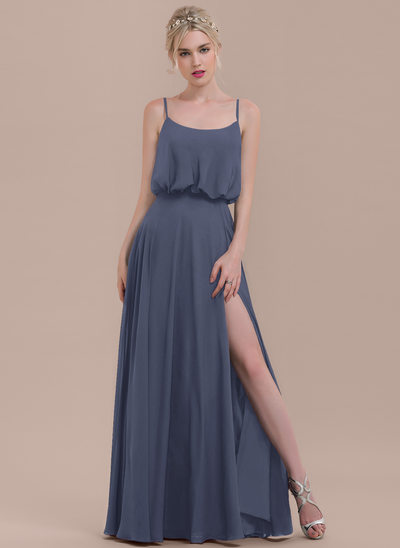 A-Line/Princess Square Neckline Floor-Length Chiffon Bridesmaid Dress With Split Front