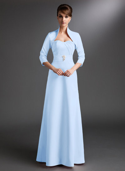 A-Line/Princess Sweetheart Floor-Length Satin Mother of the Bride Dress With Ruffle Beading