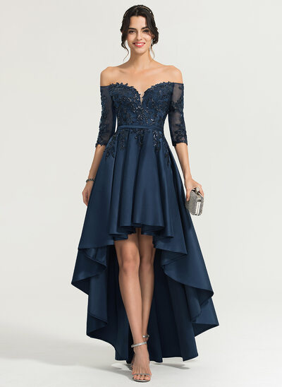 A-Line Off-the-Shoulder Asymmetrical Satin Homecoming Dress With Sequins