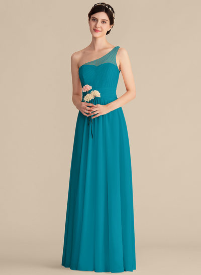 A-Line/Princess One-Shoulder Floor-Length Chiffon Bridesmaid Dress With Beading