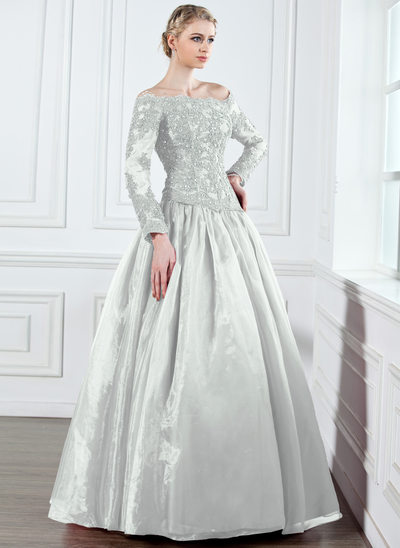 A-Line/Princess Off-the-Shoulder Floor-Length Organza Mother of the Bride Dress With Lace Beading