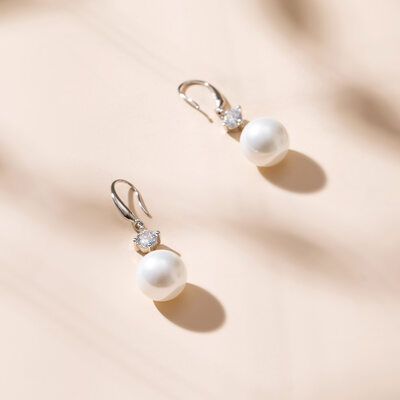 Ladies' Elegant 925 Sterling Silver Pearl Earrings For Bride/For Bridesmaid/For Mother