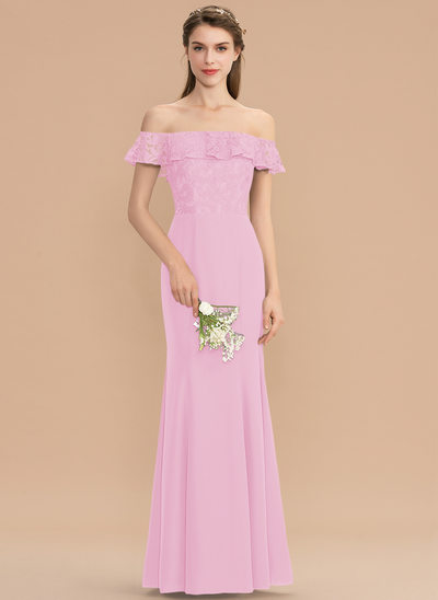 Trumpet/Mermaid Off-the-Shoulder Floor-Length Chiffon Lace Bridesmaid Dress