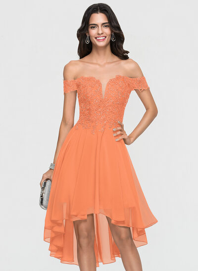 A-Line Off-the-Shoulder Asymmetrical Chiffon Homecoming Dress With Lace Beading