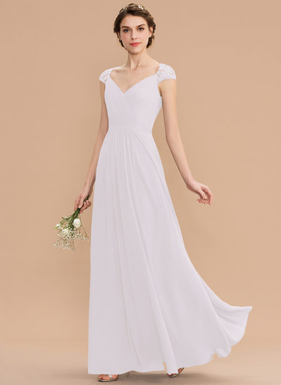 A-Line V-neck Floor-Length Chiffon Lace Bridesmaid Dress With Ruffle