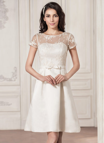 A-Line Illusion Knee-Length Satin Lace Wedding Dress With Bow(s)