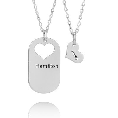 Custom Silver Heart Engraving/Engraved Two (Set of 2) - Birthday Gifts Mother's Day Gifts