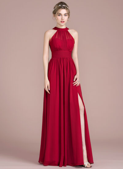 A-Line/Princess Scoop Neck Floor-Length Chiffon Prom Dress With Ruffle Bow(s) Split Front