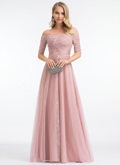 A-Line Off-the-Shoulder Floor-Length Tulle Evening Dress With Sequins