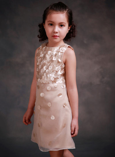A-Line/Princess Knee-length Flower Girl Dress - Tribute silk/CVC Sleeveless Scoop Neck With Beading