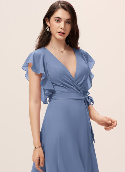 A-Line V-neck Asymmetrical Chiffon Cocktail Dress With Ruffle