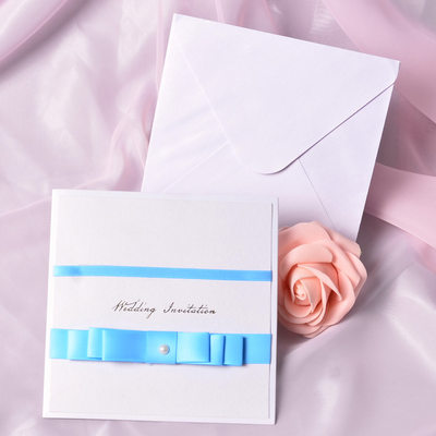 Classic Style Wrap & Pocket Invitation Cards With Bows (Set of 50)