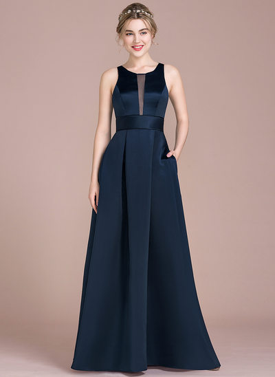 A-Line/Princess Scoop Neck Floor-Length Satin Bridesmaid Dress With Pockets