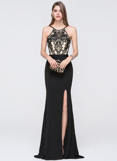 Sheath/Column Scoop Neck Floor-Length Jersey Prom Dress With Split Front