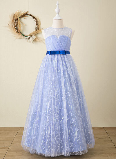 Ball-Gown/Princess Floor-length Flower Girl Dress - Organza/Satin/Lace Sleeveless Scoop Neck With Sash (Detachable sash)