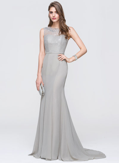 Trumpet/Mermaid Scoop Neck Sweep Train Chiffon Prom Dresses With Beading