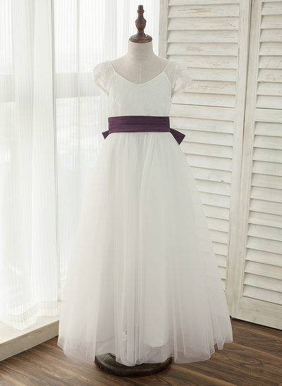 A-Line/Princess Ankle-length Flower Girl Dress - Satin/Tulle/Lace Sleeveless V-neck With Bow(s)/V Back (Undetachable sash)