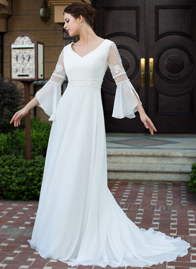 A-Line/Princess V-neck Court Train Chiffon Wedding Dress With Lace Beading
