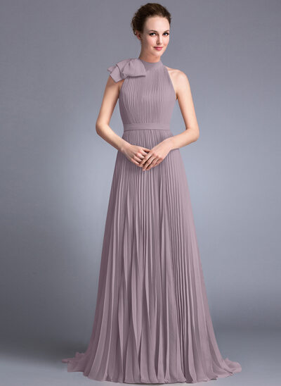 A-Line Scoop Neck Sweep Train Chiffon Evening Dress With Bow(s) Pleated