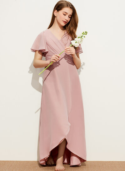 A-Line V-neck Asymmetrical Chiffon Junior Bridesmaid Dress With Ruffle