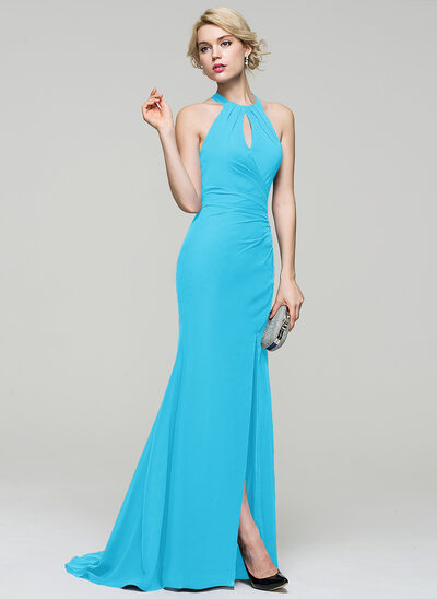 Trumpet/Mermaid Scoop Neck Sweep Train Chiffon Evening Dress With Ruffle Split Front