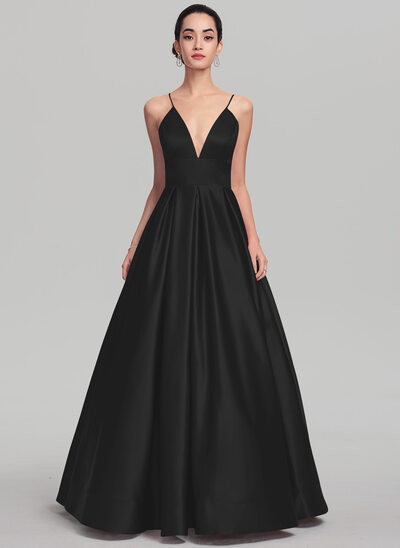 Ball-Gown V-neck Floor-Length Satin Evening Dress