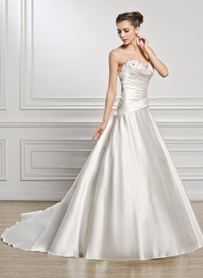 Ball-Gown Sweetheart Chapel Train Satin Wedding Dress With Ruffle Beading Sequins