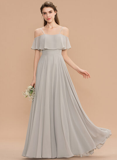 A-formet Off-the-Shoulder Gulvlengde Chiffong Brudepikekjole