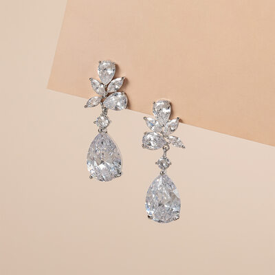 Ladies' Exquisite Copper/Zircon Earrings For Bride/For Bridesmaid/For Mother