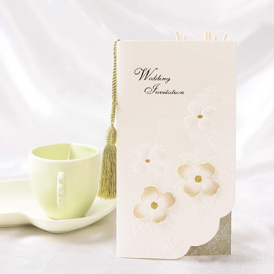 Floral Style Tri-Fold Invitation Cards With Tassels (Set of 10)