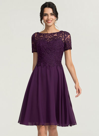 A-Line/Princess Scoop Neck Knee-Length Chiffon Cocktail Dress