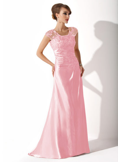 A-Line Scoop Neck Sweep Train Charmeuse Mother of the Bride Dress With Ruffle Beading Appliques Lace Sequins