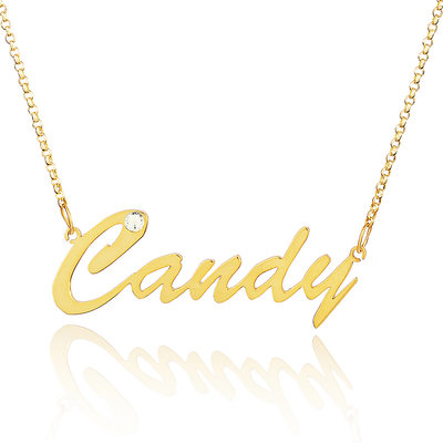 Custom 18k Gold Plated Silver Name Necklace With Diamond - Valentines Gifts