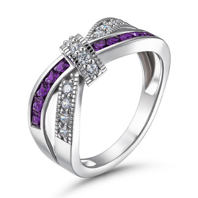 Crossover Round Cut 925 Silver Women's Bands