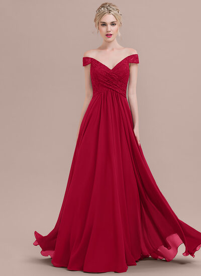 A-Line/Princess Off-the-Shoulder Floor-Length Chiffon Lace Prom Dress With Ruffle