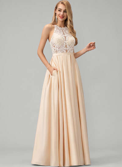 A-Line Scoop Neck Floor-Length Satin Evening Dress With Lace Pockets