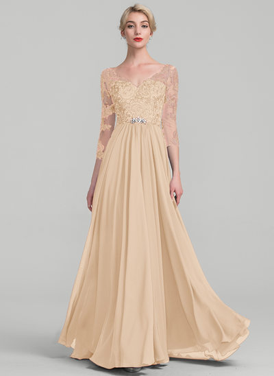 A-Line/Princess V-neck Floor-Length Chiffon Lace Evening Dress