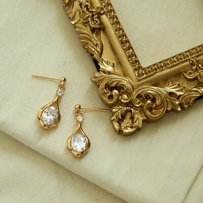 Ladies' Gold Plated/Brass With Round Cubic Zirconia Earrings For Bride/For Bridesmaid