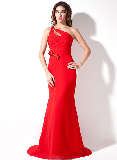 Trumpet/Mermaid One-Shoulder Sweep Train Chiffon Holiday Dress With Ruffle Bow(s)