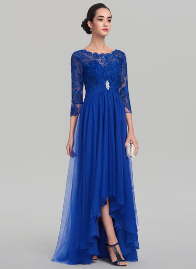 A-Line/Princess Scoop Neck Asymmetrical Tulle Prom Dress With Ruffle Beading