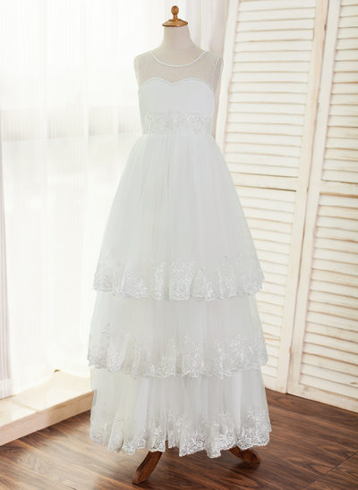 A-Line/Princess Floor-length Flower Girl Dress - Satin/Tulle/Lace Sleeveless Scoop Neck With Beading/Appliques