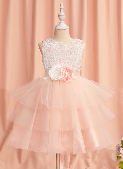 Ball-Gown/Princess Knee-length Flower Girl Dress - Satin/Tulle Sleeveless Scoop Neck With Lace/Flower(s)/Back Hole