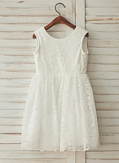 A-Line/Princess Knee-length Flower Girl Dress - Lace Sleeveless Scoop Neck With Lace/V Back