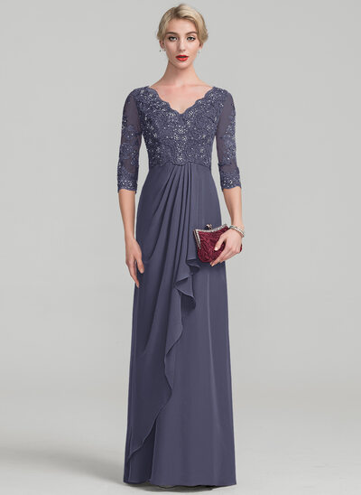 A-Line V-neck Floor-Length Chiffon Lace Mother of the Bride Dress With Beading Cascading Ruffles