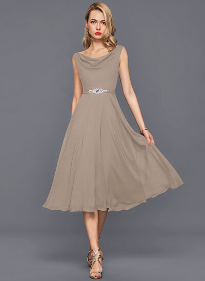 A-Line Cowl Neck Knee-Length Chiffon Cocktail Dress With Beading Sequins