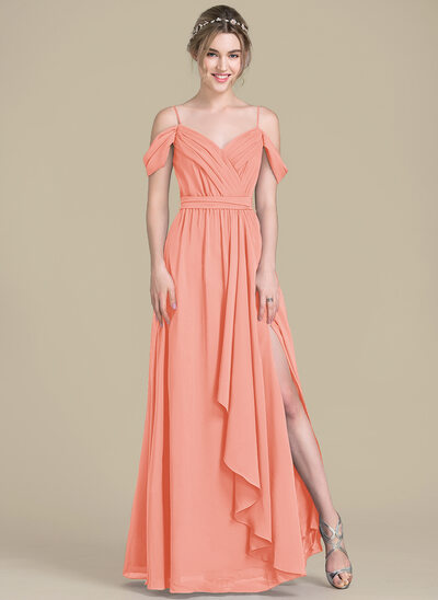 A-Line/Princess V-neck Floor-Length Chiffon Bridesmaid Dress With Bow(s) Split Front Cascading Ruffles